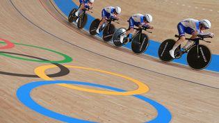 Marion Borras, Marie Le Net, Valentine Fortin et Victoire Berteau en poursuite par équipe aux Jeux Olympiques de Tokyo le 3 août 2021. (AGENCE KMSP / AFP)