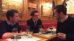De gauche à droite : Marc-Antoine, Hugo et Davy sont militants au sein du Front national de la jeunesse (FNJ) (MATTHIEU MONDOLONI / FRANCEINFO)