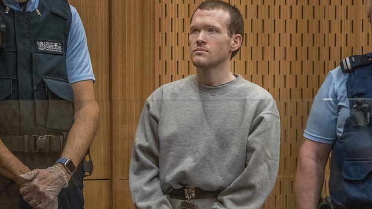 Le suprémaciste blanc Brenton Tarrant lors de son procès à Christchurch (Nouvelle-Zélande), le 24 août 2020. (JOHN KIRK-ANDERSON / AFP)