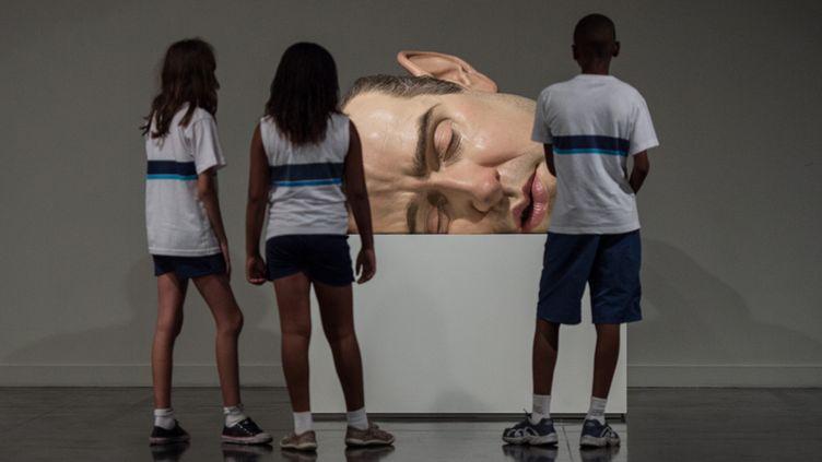 """""""Mask II"""", autoportrait ensommeillé de Ron Mueck, exposé au Musée d'Art Moderne de Rio de Janeiro (19 mars 2014)  (Yasuyoshi Chiba / AFP)"""