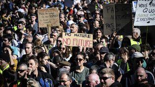 Des manifestants défilent contre le réchauffement climatique, le 16 mars 2019 à Lyon. (JEAN-PHILIPPE KSIAZEK / AFP)