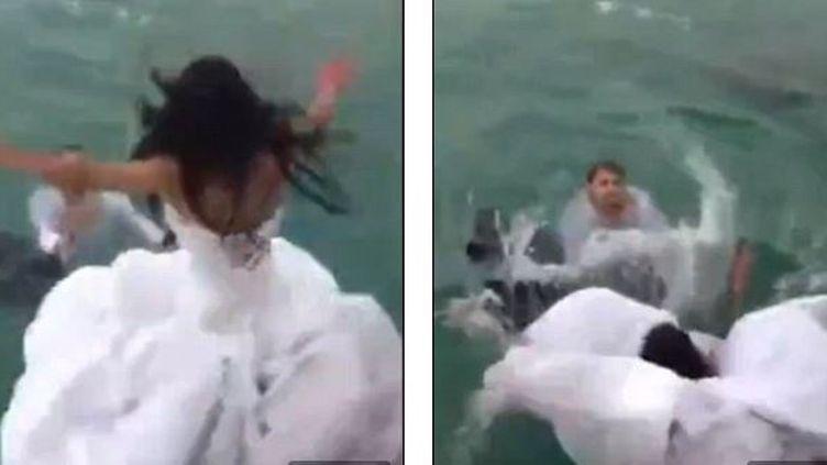 La jeune femme a plongé depuis un bateau dans l'océan, mais s'est retrouvé sous sa longue robe blanche, en mai2015. (CHANNEL 24 NEWS / YOUTUBE )