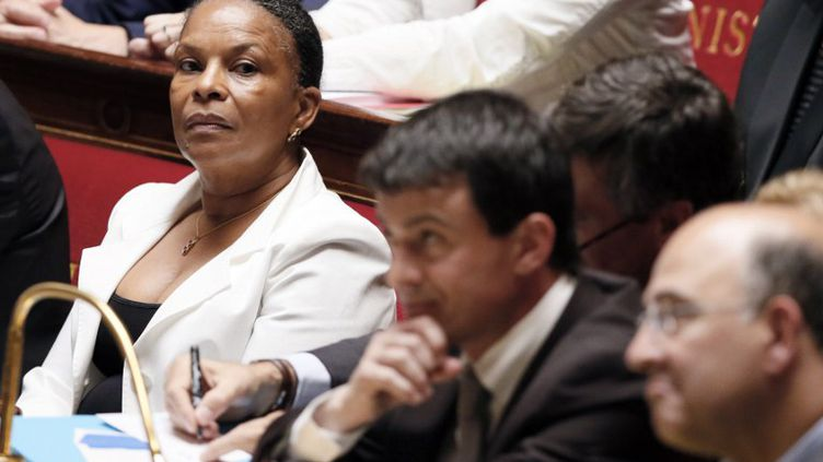 Christiane Taubira, Manuel Valls et Pierre Moscovici à l'Assemblée nationale, le 3 juillet 2012. (PATRICK KOVARIK / AFP)