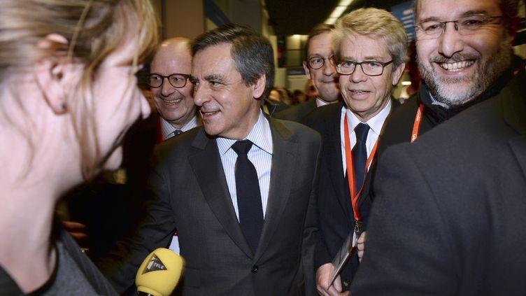 François Fillon, candidat à la présidentielle, le 1er février 2017, au Salon des entrepreneurs à Paris. (ERIC PIERMONT / AFP)