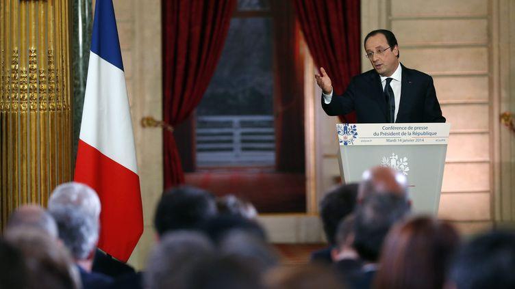 Le président François Hollande, mardi 14 janvier 2014 à l'Elysée, lors d'une conférence de presse devant 580 journalistes français et étrangers. (MAXPPP)