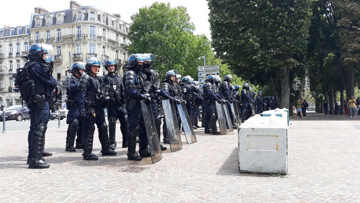 Des CRS présents près de la statue à Lille, samedi 20 juin 2020. (LOUISE THOMANN / RADIO FRANCE)