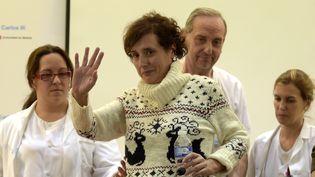 L'infirmière espagnole Teresa Romero après une conférence de presse à l'hôpital Carlos III de Madrid le 5 Novembre 2014. (GERARD JULIEN / AFP)