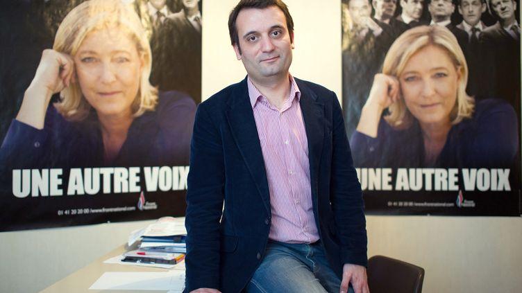 Le candidat FN aux municipales à Forbach (Moselle), Florian Philippot,le 11 mars 2014. (OLIVER DIETZE / DPA / AFP)