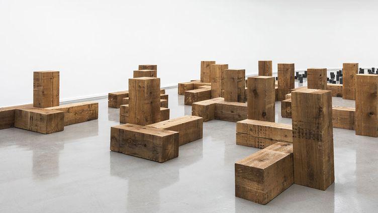 """Vue de l'exposition, Carl Andre: Sculpture as Place, 1958–2010 au Musée d'Art moderne de la Ville de Paris (""""Uncarved Blocks"""", 1975)  (Pierre Antoine)"""
