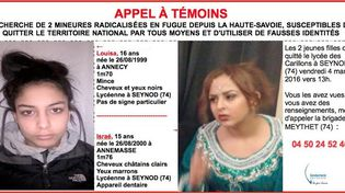 Appel à témoins émis par la gendarmerie nationale le 5 mars 2016 pour retrouver deux mineures radicalisées en fuite depuis la Haute-Savoie. (DR)