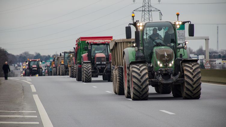 Des agriculteurs mènent une opération escargot, le 17 février 2016, à Rennes (Ille-et-Vilaine). (AUBIN LARATTE / CITIZENSIDE.COM / AFP)