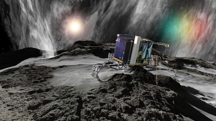 Illustration de l'atterrisseur Philae, posé sur la comète Tchouri depuis 2014. (RON MILLER / AFP)