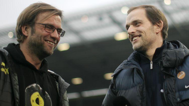 Les deux entraîneurs allemands, Thomas Tuchel et Jurgen Klopp (FREDRIK VON ERICHSEN / DPA)