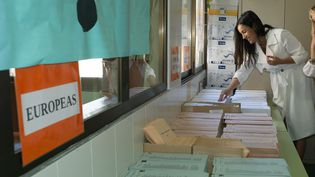 Un bureau de vote pour les élections européennes à Madrid, le 26 mai 2019. (OSCAR GONZALEZ / NURPHOTO)