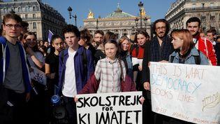 L'activiste suédoise Greta Thunberg, le 22 février à Paris. (PHILIPPE WOJAZER / REUTERS)