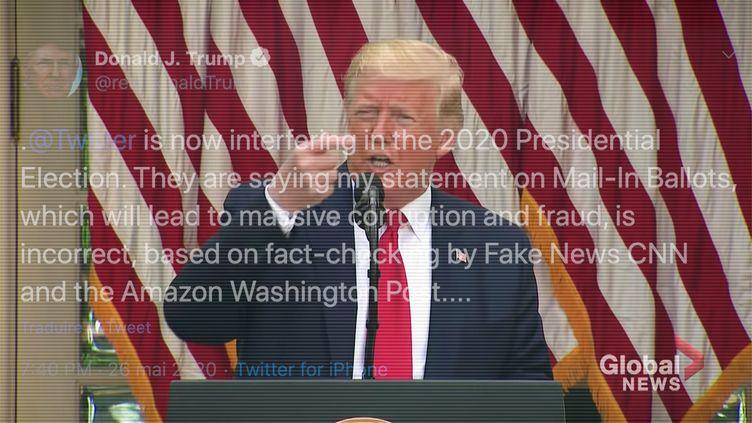 Pour la première fois, Twitter a mis en doute la véracité d'une affirmation de Donald Trump, le 26 mai 2020. (DAVID HIMBERT / HANS LUCAS / AFP)