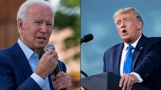 Joe Biden, le candidat démocrate à la Maison Blanche (à gauche), et Donald Trump, actuel président des Etats-Unis et candidat républicain à la présidentielle américaine. (JIM WATSON / AFP)