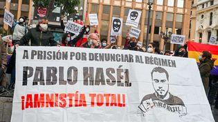 Manifestation contre la condamnation du rappeur Pablo Hasél et pour la liberté d'expression à Madrid, le 7 février 2021 (MUDDY IGNACE/DYDPPA/SHUTTERSTOCK/SIPA / SHUTTERSTOCK)