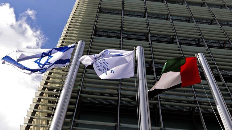 La nouvelle ambassade des Émirats arabes unis à Tel-Aviv, le 14 juillet 2021. (JACK GUEZ / AFP)