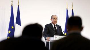 Le Premier ministre, Jean Castex, lors de la conférence de presse du gouvernement sur le nouveau confinement, le 29 octobre 2020. (IAN LANGSDON / REUTERS)