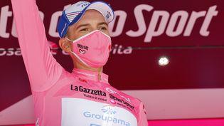 Le Hongrois de la Groupama-FDJ Attila Valter, maillot rose du Tour d'Italie au terme de la 6e étape, le jeudi 13 mai (LUCA BETTINI / AFP)