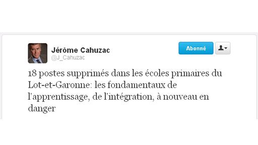 Le tweet de Cahuzac (DR)