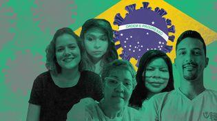 Cinq témoins brésiliens racontent une année de pandémie de Covid-19 dans leur pays. De gauche à droite : Marcela, Ariadne, Monica, Eliane et Whalaf. (JESSICA KOMGUEN / FRANCEINFO)