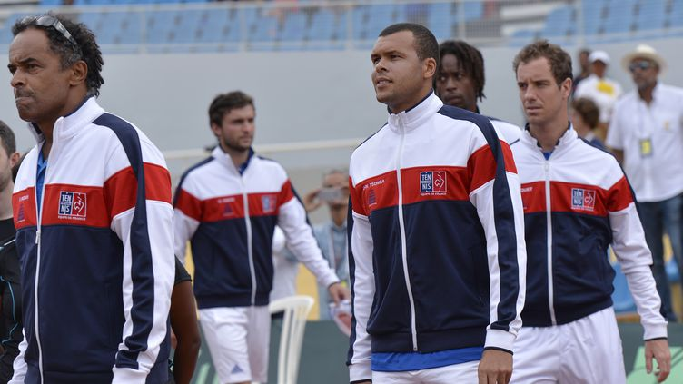 Gilles Simon, Jo-Wilfried Tsonga, Gaël Monfils et Richard Gasquet en équipe de France (MIGUEL MEDINA / AFP)