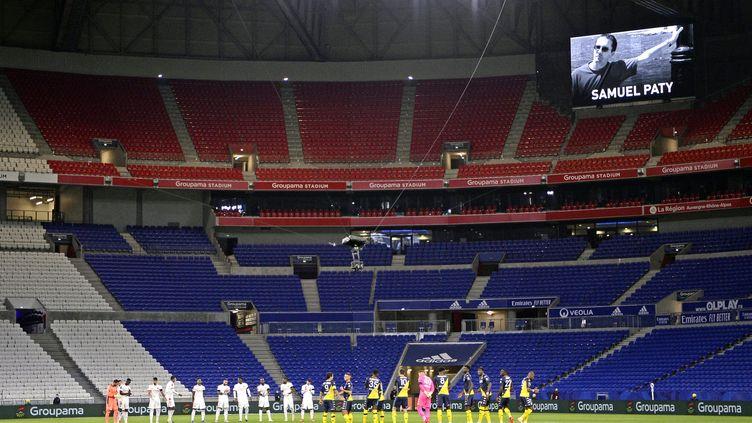 Le Groupama Stadium de l'Olympique lyonnais vide lors de la réception de Monaco (ST?PHANE GUIOCHON / MAXPPP)