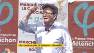 Le député La France insoumise, Jean-Luc Mélenchon, le 27 août 2017 à Marseille, lors du discours de clôture des journées d'été de son mouvement. (FRANCEINFO)