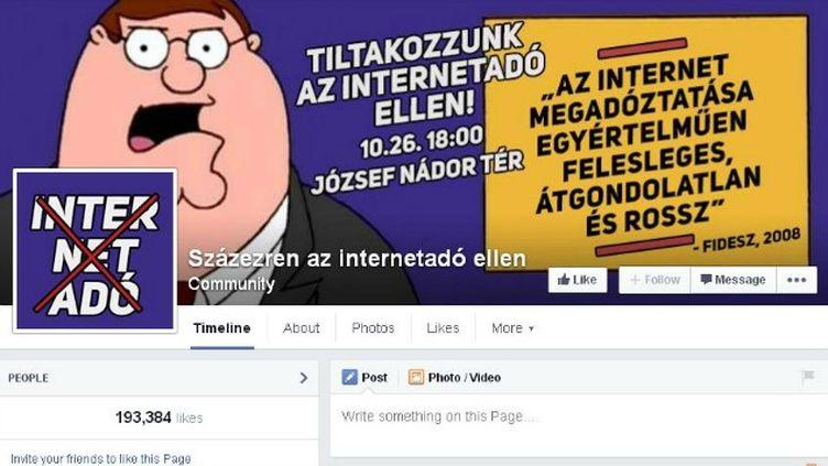 (La page Facebook de mobilisation contre la taxe Internet compte près de 200.000 abonnés © Capture d'écran)