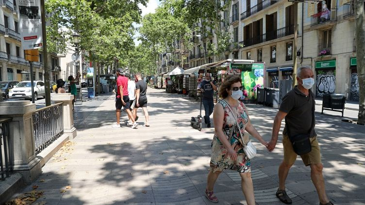 Les Ramblas désertes, à Barcelone (Catalogne, Espagne), le 2 juillet 2020. (JOAN VALLS / NURPHOTO / AFP)