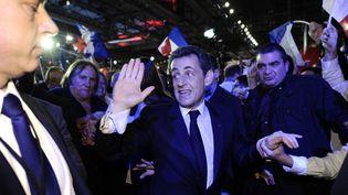 Nicolas Sarkozy lors du meeting de Villepinte (Seine-Saint-Denis), le 11 mars 2012. (LIONEL BONAVENTURE / AFP)