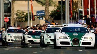 Un convoi de voitures de police de luxe à Dubaï en février 2014 (MARWAN NAAMANI / AFP)