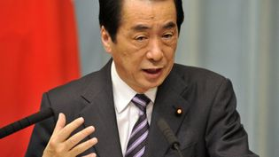 Le premier ministre japonais, Naoto Kan, lors d'une conférence de presse, le 12 avril 2011. (AFP PHOTO / Yoshikazu TSUNO)