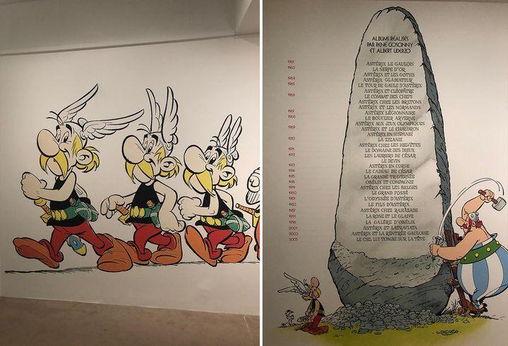 Oeuvres d'Uderzo exposées au musée Maillol à Paris, le 27 mai 2021.  (YANN BERTRAND / RADIO FRANCE)