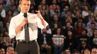 Emmanuel Macron à l'université George Washington, aux Etats-Unis, le 25 avril 2018. (LUDOVIC MARIN / AFP)