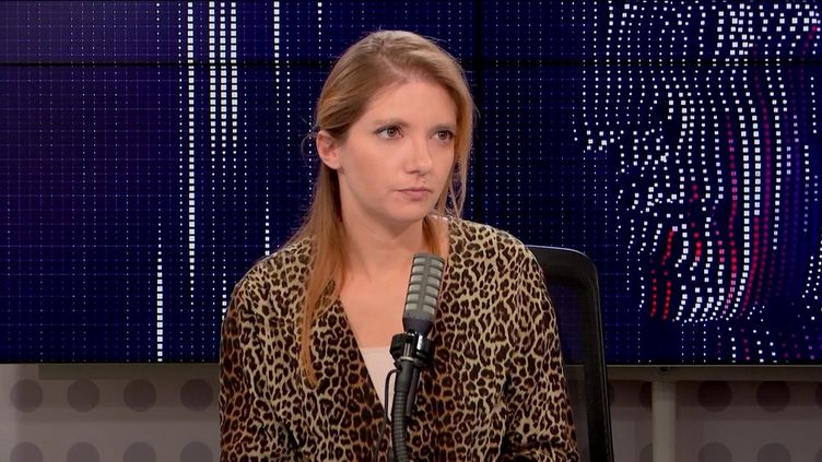 Aurore Bergé, présidente déléguée du groupe LREM à l'Assemblée nationale, le 21 octobre 2021 sur franceinfo. (FRANCEINFO / RADIO FRANCE)