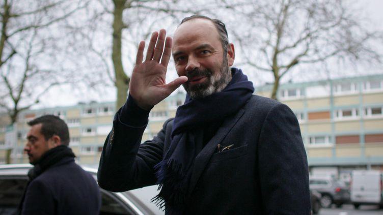 Le Premier ministre, Edouard Philippe, au Havre (Seine-Maritime) le 1er février 2020 pour lelancement de sa campagne municipale. (LOU BENOIST / AFP)