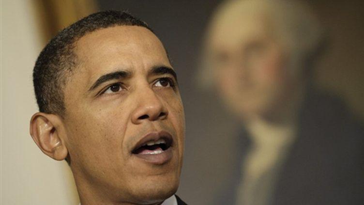 Barack Obama en train de révéler son plan sur le secteur bancaire le 21 janvier 2010 (AFP - Jim WATSON)