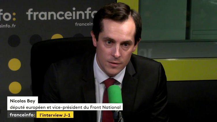 Nicoals Bay, vice-président du Front national, était l'invité de Yaël Goosz, mercredi 18 octobre sur franceinfo. (FRANCEINFO)