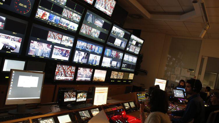 régie TV du journal de 20 Heures de France 2. (OLIVIER CORSAN / MAXPPP)