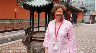 Anne Nabarro au temple Thian Hock Keng de Singapour (Photo Emmanuel Langlois)