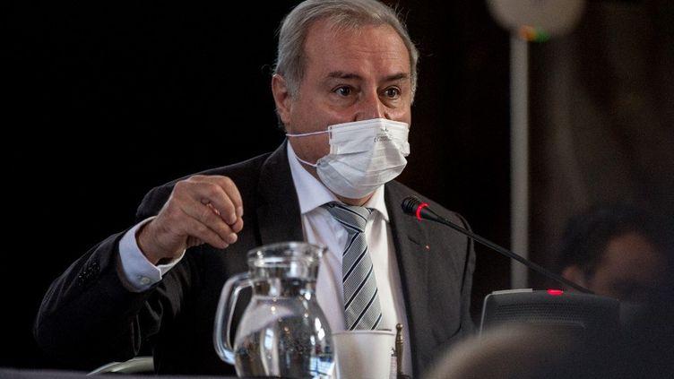 Jean-Luc Moudenc au conseil municipal de Toulouse le 8 octobre 2020. (FREDERIC SCHEIBER / HANS LUCAS / AFP)