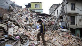 Certaines parties de Katmandou, la capitale népalaise, se sont totalement effondrées. (NARENDRA SHRESTHA / MAXPPP)