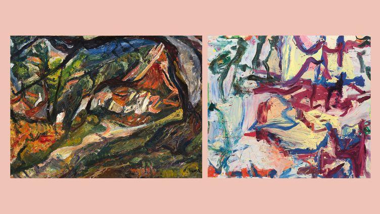 """A gauche,Chaïm Soutine (1893-1943), """"Paysage avec maison et arbre"""", 1920-1921 - A droite,Willem de Kooning (1904-1997) ... """"Dont le nom était écrit dans l'eau (...Whose Name Was Writ in Water) 1975, Etats-Unis, New-York (NY), The Solomon R. Guggenheim MuseumArtwork (A gauche, Philadelphia (PA), The Barnes Foundation - A droite  © The Willem de Kooning Foundation, Adagp, Paris, 2021, Photo  © The Solomon R. Guggenheim Foundation / Art Resource, NY, Dist. RMN-Grand Palais)"""