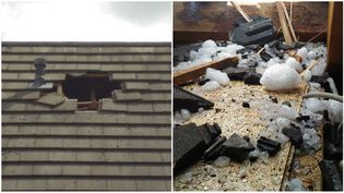 Le bloc de glace tombé du ciel a traversé le toit. (Photos transmises par Gérard, propriétaire de la maison)
