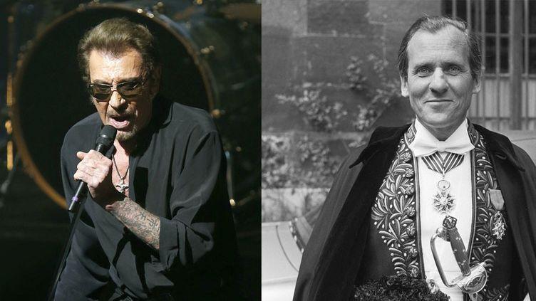 A gauche, Johnny Hallyday en concert à Barcelone (8 mars 2016). A droite Jean d'Ormesson reçu sous la coupole de l'Académie française (6 juin 1974) (ANDREU DALMAU / SIPA - UNIVERSAL PHOTO / SIPA)