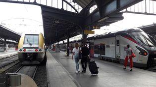Des passagers attendent sur les quais de la gare de l'Est, à Paris, le 28 mai 2018. (NICOLAS MERCIER / CROWDSPARK / AFP)