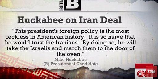Capture écran de CNN reprenant les propos de Mike Huckabee sur l'accord avec l'Iran (CNN)